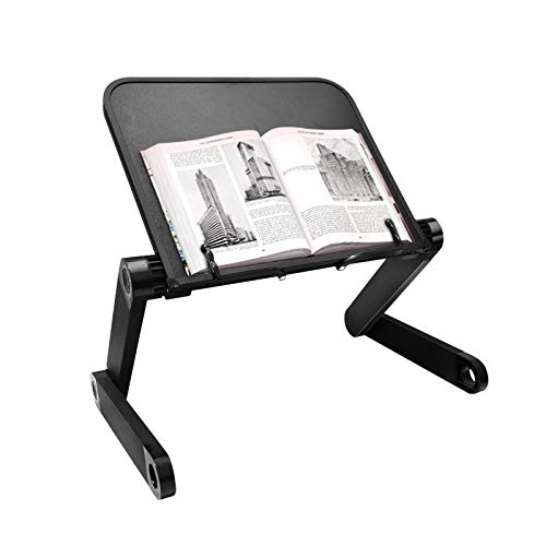 Aluminum Book Stand Adjustable with Stopper Ergonomic Lap Desk Book Holder Portable Computer Table for Bed Sofa Couch Office