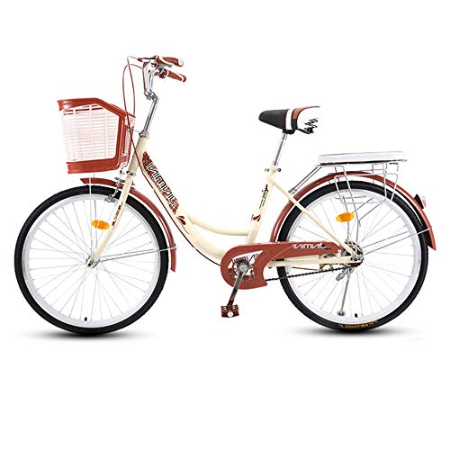 TRGCJGH Bike Bicycle for Women Retro Frame Adult Bike with Basket Red,1-26inches