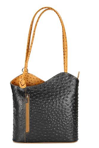 Belli ital. Ledertasche Backpack 2in1 Damen Rucksack Leder Handtasche Schultertasche - Freie Farbwahl - 28x28x8 cm (B x H x T) (Schwarz cognac strauss)