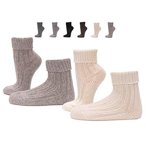 2 Paar Umschlag-Söckchen mit Alpakawolle, Wollsocken warm und sehr weich, Umschlag-Socken in...