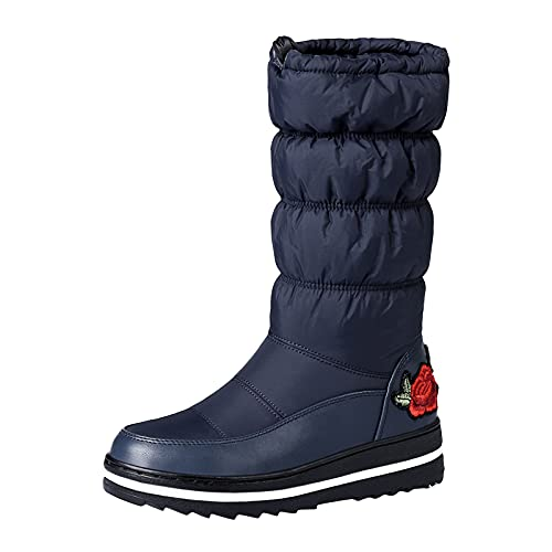 Winter Snow Boots for Women Hiking Trekking Thick Plush Waterproof Non-Slip Thigh High Boots Fashion Embroidery Middle Tube Thicken Warm Cotton Boots Shoes Navy