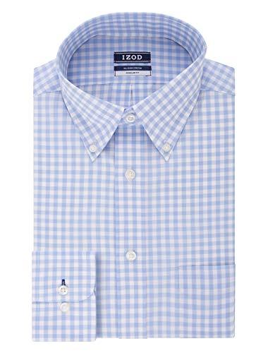 """IZOD Men's Dress Shirt Regular Fit Stretch Button Down Collar Check, Light Blue, 15""""-15.5"""" Neck 32""""-33"""" Sleeve (Medium)"""