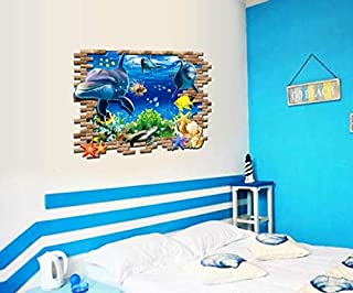 3D ocean floor world personality fashion creative wall stickers.