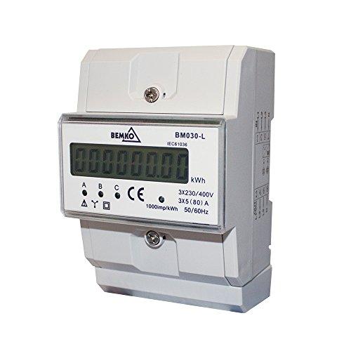 Drehstromzähler Energie-Stromzähler Hutschiene Strommessung, 3-phasig