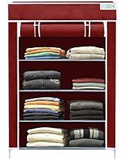 Flipzon Collapsible Wardrobe Organizer, Multipurpose Storage Rack, 4 Layer (Maroon)