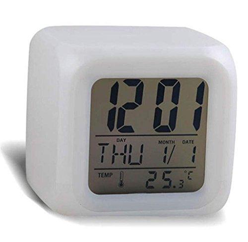 Maolanku Allarme Termometro digitale Notte d'ardore Cubo 7 colori dell'orologio del cambiamento del LED