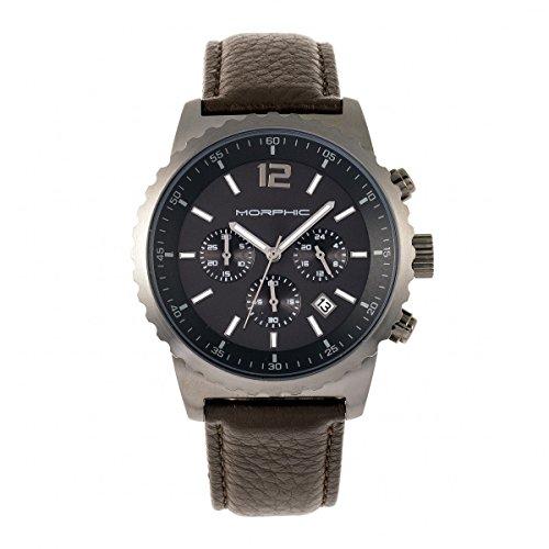 Morphic Reloj cronógrafo serie M67 con correa de cuero con...