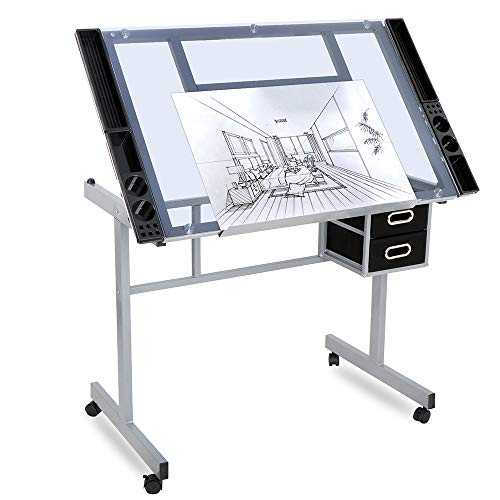 Glass Top Drafting Table with Storage, Adjustable Drawing Desk Rolling Art Craft Station Writing Work Table with Drawers & Wheels