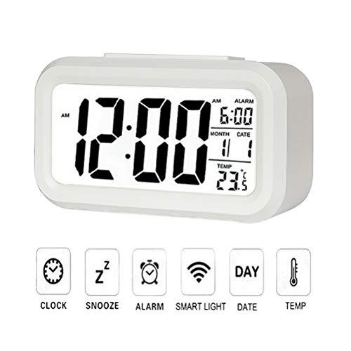 Ysoom Digitale wekker, lichtsensor, led-kinderwekker met datum, temperatuur, batterijen, digitale wekker, reiswekker met snoozekalender