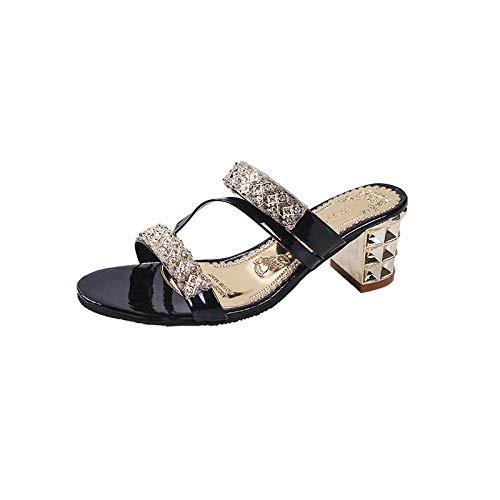 ypyrhh Zapatilla de Plataforma con cuña para Mujer,Palabra Arena Gruesa,cómodas Zapatillas Boca de pez-Negro_37,Zapatillas de Estar por Casa de Mujer/Hombre