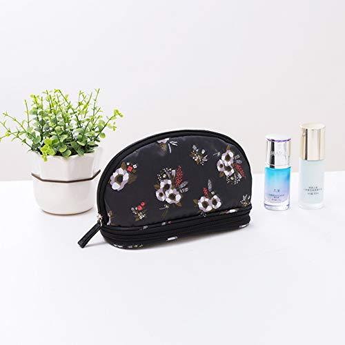 Halfronde Travel Cosmetic Bag Flamingo Cat Leuke Cartoon Dubbele Rits Portemonnee Was Slaapkamer Badkamer Draagbaar Vrouw Blackflowers