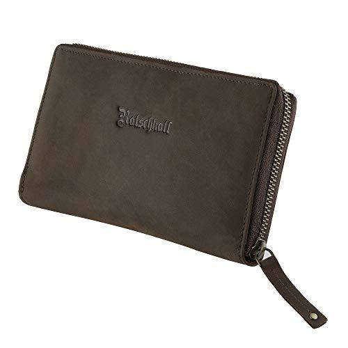 Portemonnaie Damen Groß Frauen – Handgefertigt mit Reißverschluss + vielen Kartenfächern – Portmonee – Geldbeutel - Wallet - Clutch (Braun)