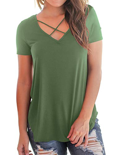NIASHOT Womens Sexy Cross Front V-Neck Short Sleeve T-Shirt Tunic Tops Army Green L