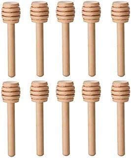 LASSUM 10 Pieces 3 Inch Wood Honey Dippers Sticks, Mini Honey Dipper Stick for Honey Jar Dispense Drizzle Honey