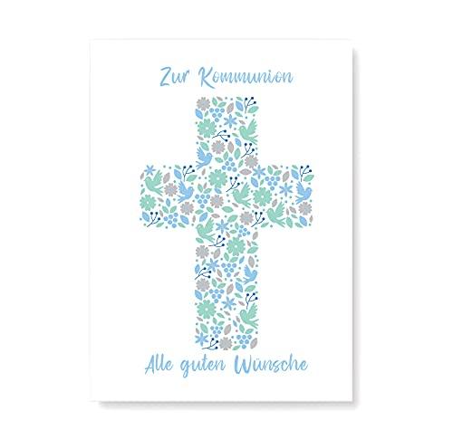 Friendly Fox Karte zur Kommunion - Kommunionskarte Junge Karte Kommunion mit Umschlag - Glückwunschkarte Klappkarte zur heligen 1. Kommunion