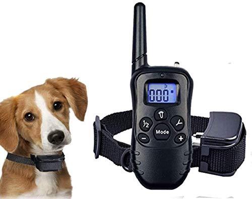 Rocíe el cuello de entrenamiento de perros con control remoto-vibración pitido rociado cuello de corteza de perro con rango de luz LED recargable ajustable Sin choque eléctrico Cuello anti-corteza ino