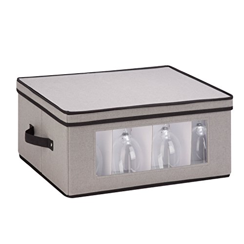 Honey-Can-Do SFT-05379 Large Canvas Stemware Window Storage Chest,, Gray, 18.38 in L x 13.88 in W x 8.5 in H