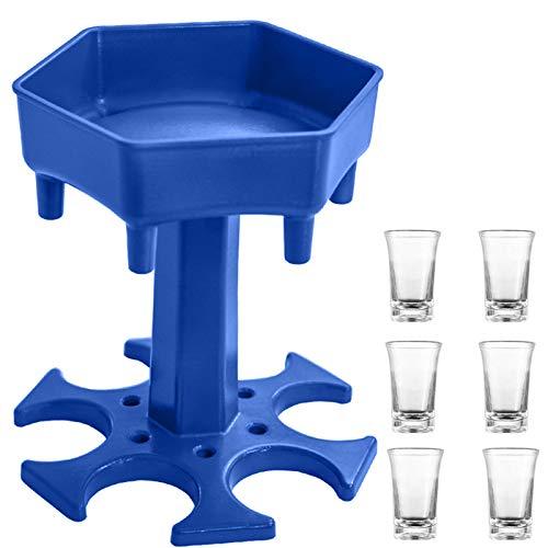 AIEOE Dispensador de vasos de chupito y bandeja para 6 personas, vasos de chupito, dispensador de copas de vino rápido, dispensador de cócteles