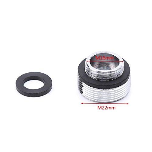 2SETS aeratore connettore con filettatura metallo esterno Risparmio acqua caricabatteria per lavello 16/18/20/22/24/28mm a 22mm o G1/2A 22mm, nero