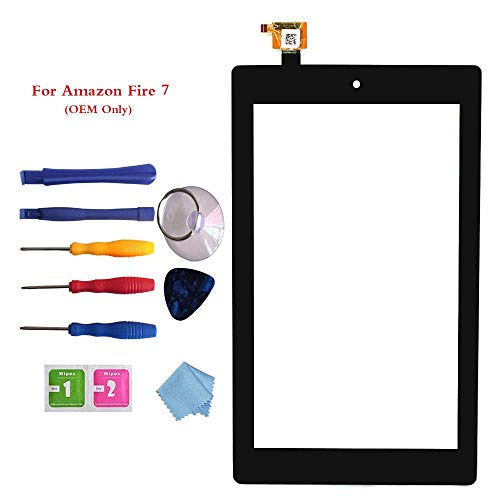 New Digitizer Screen Replacement for Amazon Fire 7th Gen SR043KL 7' Black (for 7th Generation 2017 Release)