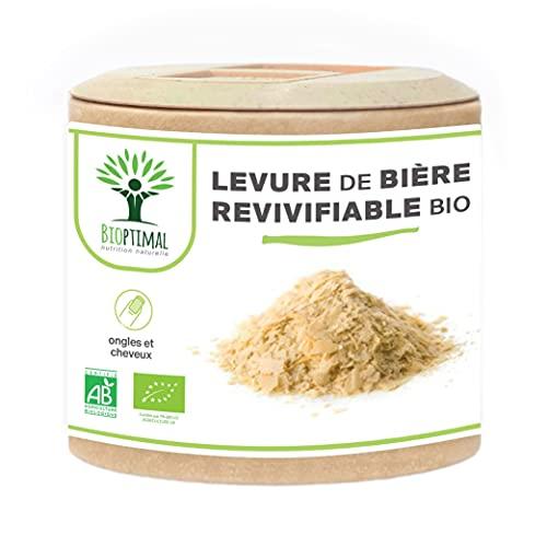 Levure de Bière Bio Revivifiable - Bioptimal - Complément alimentaire - Vivante & Active - Peau Cheveux Ongles - Digestion Transit Probiotique - Fabriqué en France - Certifié par Ecocert - 60 gélules