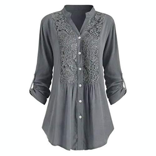 GATIK Damen Long Loose Shirt Button Applique Cardigan Lässige Bluse in Übergröße Plissee-Pullover in Übergröße(S,Grauen)