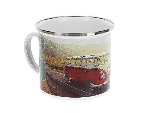 BRISA VW Collection - Volkswagen T1 Bulli Bus Emaille-Kaffee-Tee-Tasse-Becher für Küche, Werkstatt, Büro, Outdoor - Camping-Zubehör/Geschenk-Idee/Souvenir (emailliert/Motiv: Highway 1)