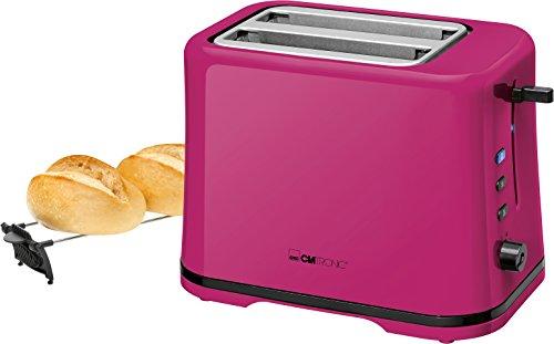Clatronic TA 3554 Kompakter 2-Scheiben Toaster, Brötchenaufsatz (abnehmbar), Aufwärm, Auftau Schnellstoppfunktion, stufenlos einstellbarer Bräunungsgrad, Krümelschublade, Brombeer