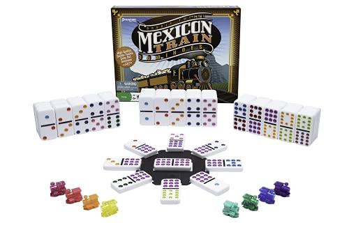 Dominó de Tren Mexicano de Pressman – Dominó Colores – El Juego Incluye marcadores de Tren y Cubo