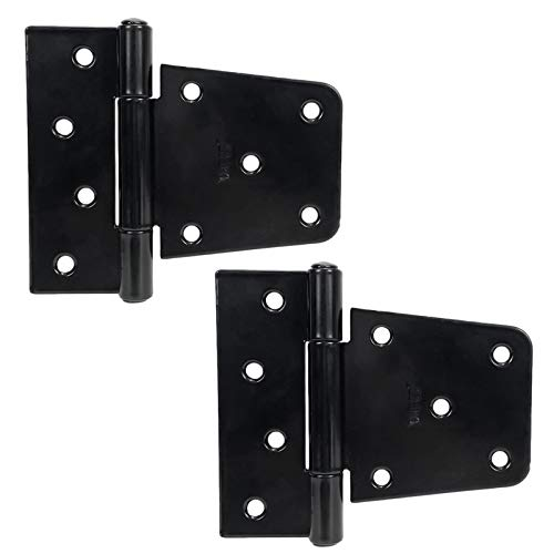 3.5 inch Black Door Shed Hinges Square Barn Hinges Heavy Duty Gate Hinges Wrought Hardware Iron Rustproof for Wood Fences(2 PCS)