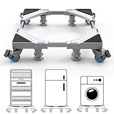 DEWEL Multi-functional Movable Adjustable Base with 4 Strong Feet + 4×2 Locking Rubber Swivel Wheels Stent Durable Heavy Load 300kg Mobile Case Roller Dolly for Washing Machine,Dryer and Refrigerator