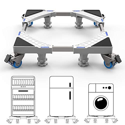 Dewel Base Lavadora,Base Ajustable de 45 cm-69 cm con 4 Ruedas Giratorias y 4 Pies de Goma Soporte para Lavadora, Secadora y Refrigerador