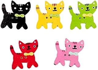 VORCOOL 50pcs Multicolor en forma de gato 2 agujeros madera impresi/ón botones de costura colores mezclados