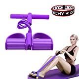 calliven Pedal Resistance Band, 4-Tube Natural Latex Sit-up Bodybuilding Expander, Elastic Pull Rope Fitness Equipment, for Abdomen, Waist, Arm, Yoga Stretching Slimming Training (A)