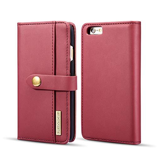 YIHUI Funda protectora para iPhone 6 Plus/6S Plus de piel, funda de piel auténtica, funda tipo cartera, 2 en 1 con tapa magnética, funda de piel de primera calidad con ranura para tarjeta