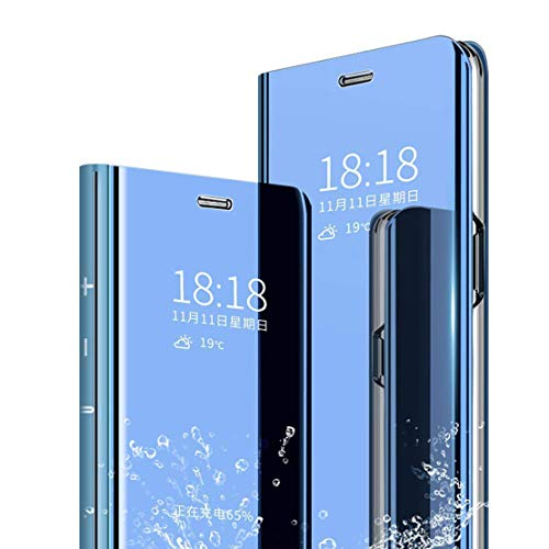 LANYOS Compatible Samsung Galaxy S8 Plus Flip Case,Full Body Protection Translucent Electroplate Plating S-View Mirror Cover Built in Kickstand (Blue)