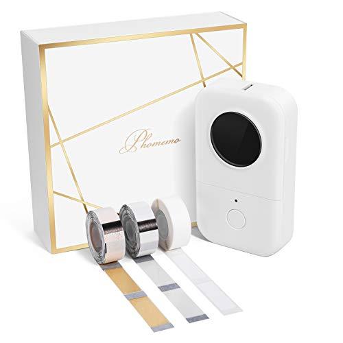 Phomemo D30 Bluetooth Etikettendrucker tragbar Thermoetikettendrucker Bluetooth label Printer,Geschenkbox mit 3 Rollen Thermoetikettenpapier,Geeignet für Zuhause,Büro,Schule,Ladeneinzelhandel.Weiß