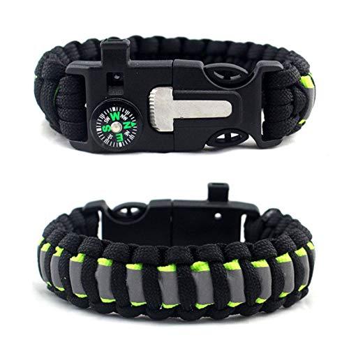 Sanzenling Parapluie de Survie en Plein air Corde Bracelet Boussole Camping Bracelet Multifonction créatif Silex Bracelet de Survie