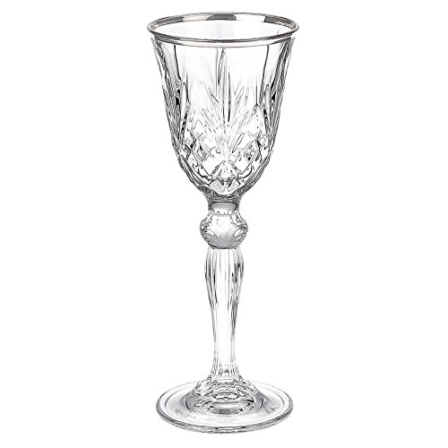 Lorren Home Trends Dynasty Collection Crystal Cordial Liquor Glass with Silver Band, Set of 6
