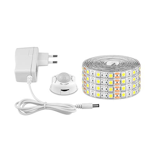 AIMENGTE Striscia Flessibile a LED, Impermeabile LED Striscia 5050 SMD LED Strip Con Sensore di movimento & DC 12V Alimentatore, Striscia luminosa LED per Decorazioni, Cucina, Bar, Festa ecc
