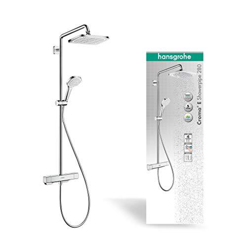 hansgrohe wassersparendes Duschsystem Croma E Regendusche (Duschkopf, Duschkopf, Duschstange, Thermostat, Schlauch, 4 Strahlarten) Chrom