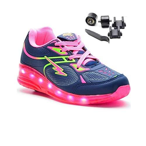 Tênis de rodinha e led Minipé Azul/pink Cor:Azul-Pink;Tamanho:34