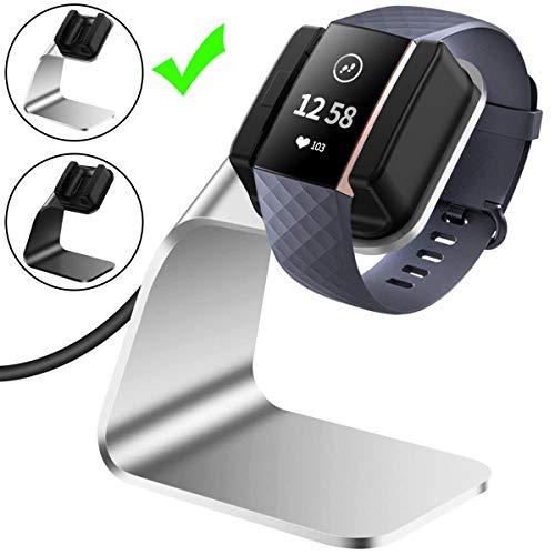 CAVN Ladegerät Kompatibel mit Fitbit Charge 3 Ladekabel Dock, (150cm/4.9ft) Ersatz USB Premium Ladestation Charger Kabel Charging Adapter Stand Ladegerät für Charge 3 /SE Fitness Tracker (Silber)