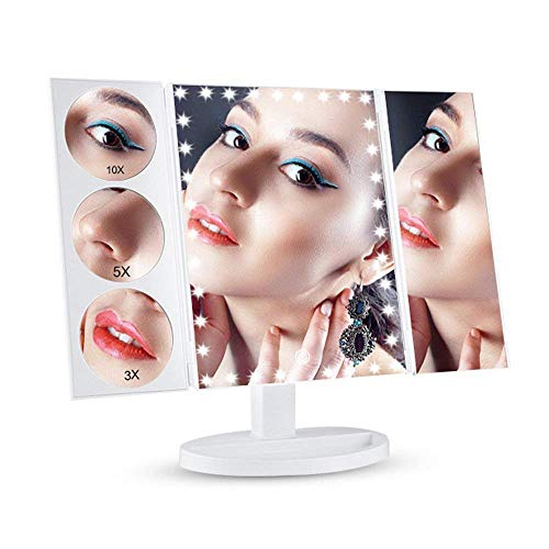 XG-WU Mirror Touch Lighted Makeup Mirror, Desktop Trifold Makeup Vanity Mirror 3X/2X/1X Magnification Dimmable 180° Rotation Illuminated Countertop Cosmetic Mirror