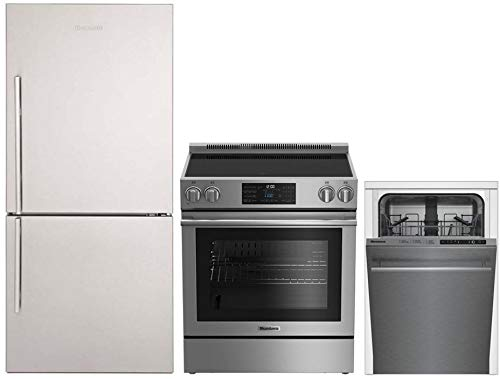 """Blomberg 3-Piece Kitchen Appliances Package with BRFB1812SSN 30"""" Bottom Freezer Refrigerator, BERU30420SS 30"""" Electric Range and DWS51500SS 18"""" Built In Fully Integrated Dishwasher in Stainless Steel"""