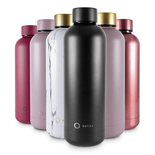 REFYLL Trinkflasche Edelstahl wonderFYLL - 500ml Thermosflasche - auslaufsicher, BPA frei - isolierte Wasserflasche, doppelwandige Isolierflasche (Simple Black, 500 ml)