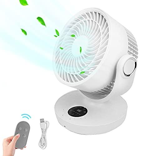 Karanice Ventilator Leise Turbo-Ventilator 3D Luftumwälzer 180°Automatischer Schüttelkopf 4 Geschwindigkeiten USB Timer Lüfter 10000mAh Ventilator mit Fernbedienung für Büro, Zuhause