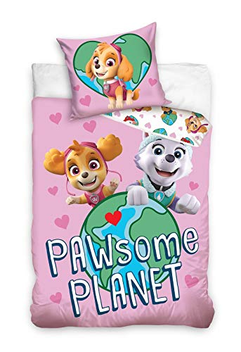PAW PATROL Wende-Bettwäsche-Set 135x200 Baumwolle Kinderbettwäsche Mädchen Skye Everest