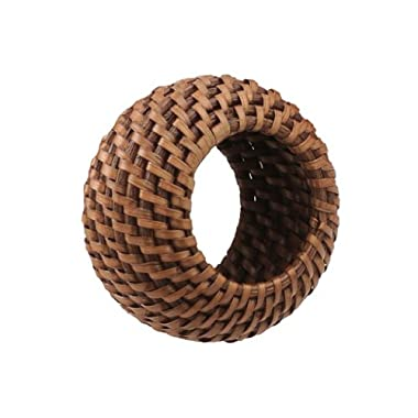 KOUBOO Rattan Napkin Ring with Tray, Honey Brown, Set of 4