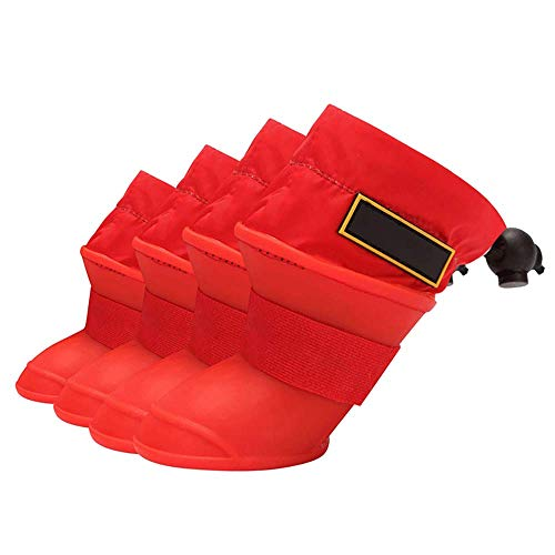Qyeeypoc Siliconen Hond Outdoor Schoenen Regenlaarzen, Warm Wol Interne Antislip Waterdichte Hond Bescherming Regen Katoenen Laarzen, M, Rood